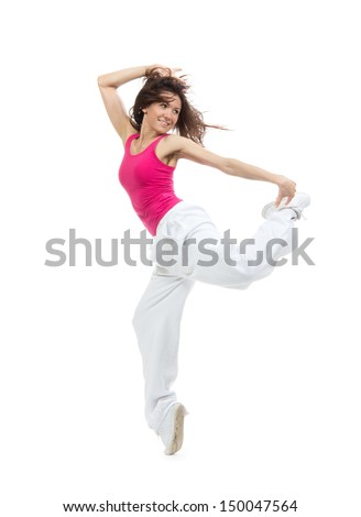 Pretty modern dancer slim hip-hop style teenage girl jumping dancing isolated on a white studio background