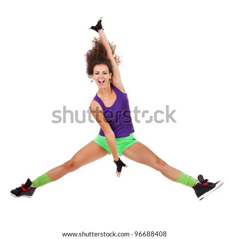 pretty modern slim hip-hop style woman dancer jumping and dancing isolated on a white studio background