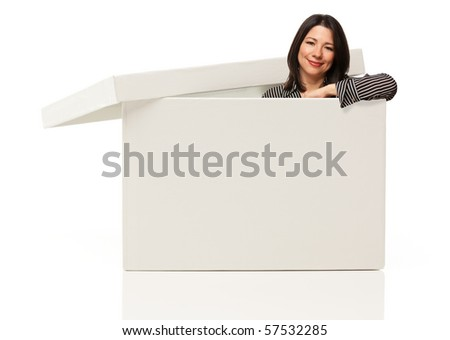 Pretty Multiethnic Woman Standing Inside Blank White Box Isolated on a White Background - Box Ready for Your Own Message.