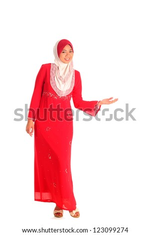 Pretty muslim woman model in open arm action, on white background