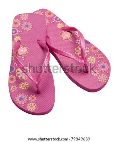 Pretty pink flip flop isolated on white background with clipping path.