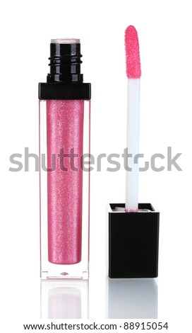 Pretty pink lip gloss isolated on white