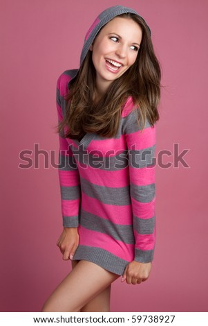 Pretty playful laughing brunette girl
