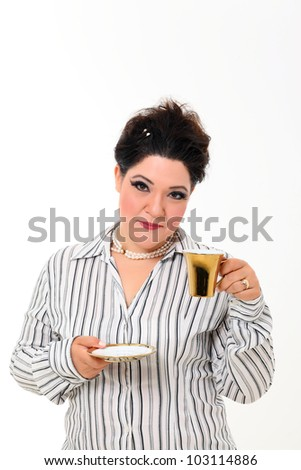 Pretty plus size woman with gold cup of coffee
