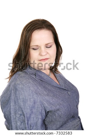 Pretty plus sized model suffering from doubt and insecurity.  Isolated on white.
