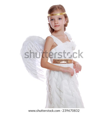 Young Angel Girl Praying Isolated On White Background Charming