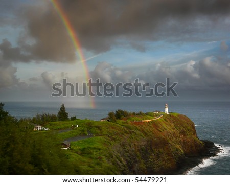 Pretty rainbow over Kilauea lighthouse at the North Shore of Kauai, Hawaii.