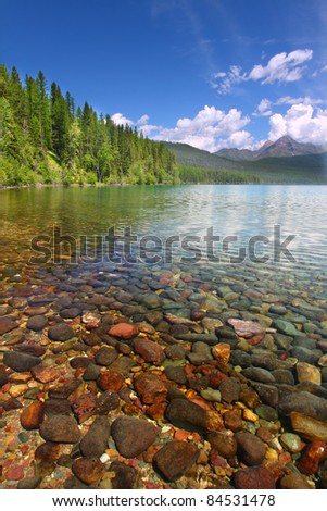 Pretty Rocks Seen Through The Crystal Clear Waters Of Kintla Lake ... in Glacier National Park - via www.shutterstock.com