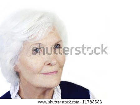 Pretty senior woman portrait, isolated on white background