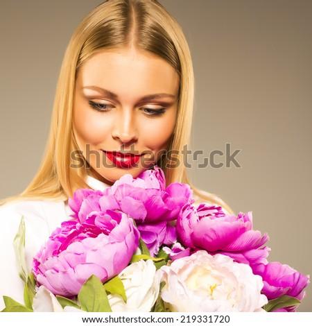 Pretty shy girl got a present flowers