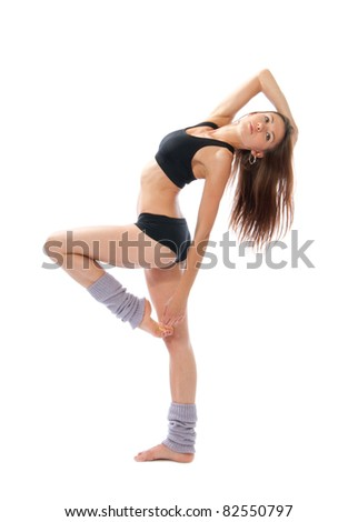 Pretty slim jazz modern contemporary style woman ballet dancer pose isolated on a white studio background