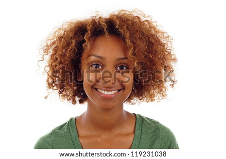 Pretty smiling black woman portrait isolated over white background