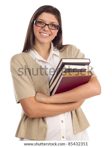 Pretty Smiling Ethnic Female Student Holding Books Portrait Isolated on a White Background.