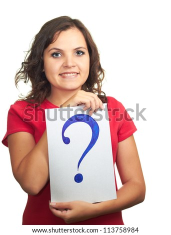 Pretty smiling girl in red shirt holding a sheet of paper with a big question mark. Isolated on white background