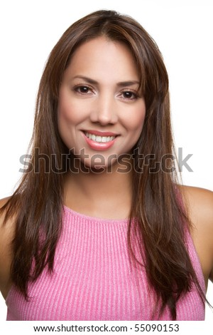 Pretty smiling latina woman portrait - stock photo