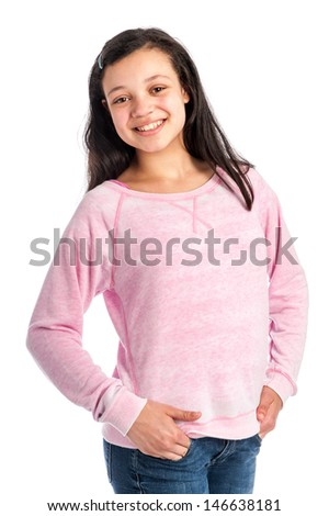 Pretty smiling mixed race teenage girl wearing casual cloths. Isolated on studio white background.