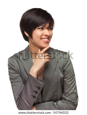 Pretty Smiling Multiethnic Young Adult Woman Looking to the Side Isolated on a White Background.