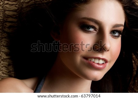 Pretty smiling teenage girl closeup