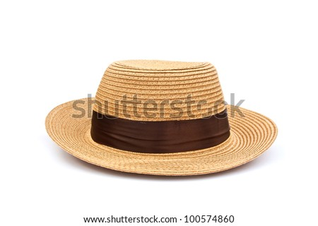 Pretty straw hat isolated on white