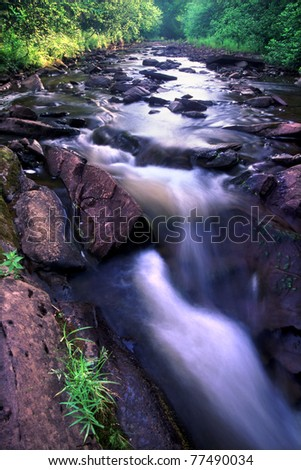Pretty stream in the Porcupine Mountains Wilderness State Park of Michigan