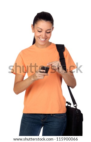 Pretty student girl with a mobile isolated on white background
