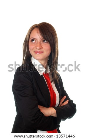 pretty success business girl smiling and thinking with red tie