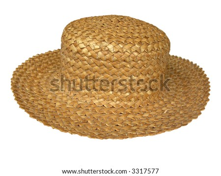 pretty summer straw hat isolated on white