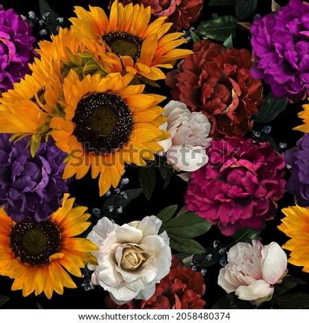 Pretty Sunflower Seamless Repeat Patterns
