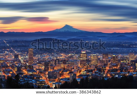 pretty sunrise of portland with ...