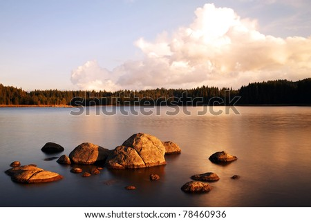 pretty sunrise on the beauty mountain lake