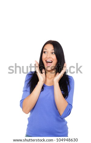 stock photo pretty surprised excited woman happy smile young attractive girl portrait looking side to empty 104948630