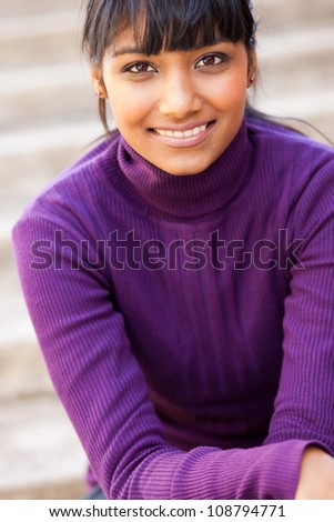 pretty teen indian girl closeup portrait