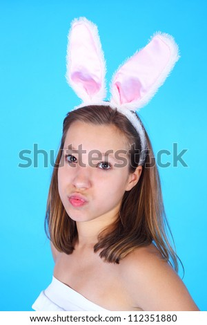 pretty teenage girl in the bunny ears
