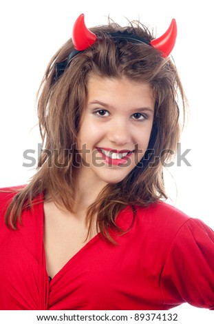 Pretty teenage girl in the devils costume.