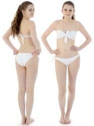 Pretty teenage girl wearing a white bikini as a group photo montage in the studio
