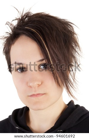 pretty teenage girl with alternative hairstyle