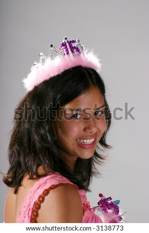 Pretty teenage girl with birthday tiara