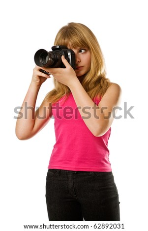 Pretty teenage girl with photo camera isolated