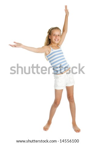 Pretty teenager girl with hands up isolated - stock photo