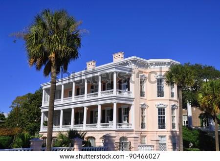 Pretty view of Charleston South Carolina's historic Battery Row