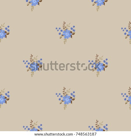 Pretty vintage feedsack pattern in small flowers. Millefleurs. Floral sweet seamless background for textile, fabric, covers, wallpapers, print, gift wrap, scrapbooking, quilting, decoupage.