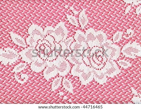 Pretty White Lace Roses On Pink