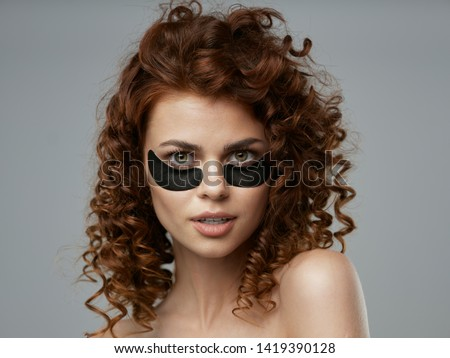 Pretty woman collagen on face patches under eyes skin care cosmetics spa treatments treatments