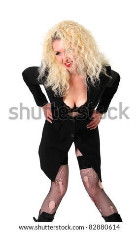 Pretty woman. Curly blond in ripped stockings and lingerie on the white background