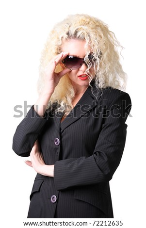 Pretty woman. Curly blonde on the white background