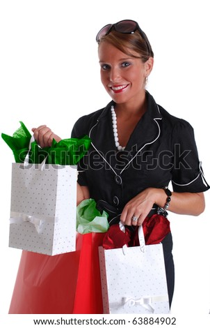 Pretty Woman Holding Gift Bags