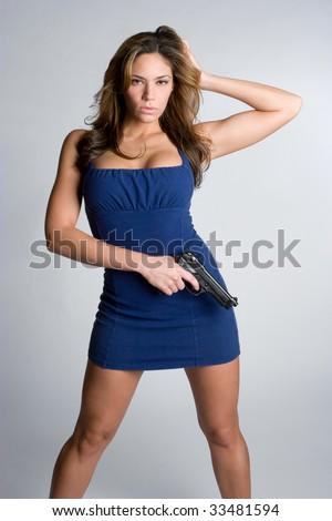 Pretty Woman Holding Gun