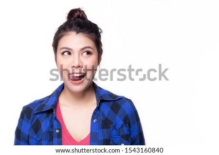 Photo of  Pretty woman hungry, licking her lips when see some appetizing, delicious food, sweet, yummy food. Attractive beautiful young woman want to eat delicious meal, get hungry and get drooling of appetizer