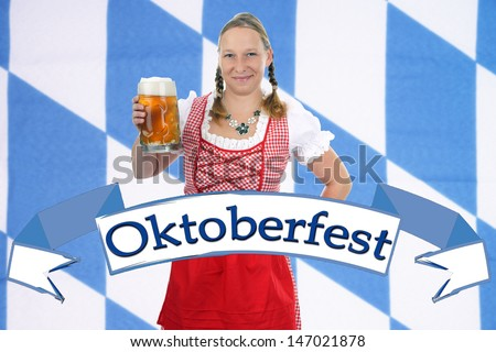 pretty woman in dirndl beer mug / Oktoberfest
