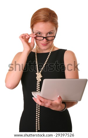 pretty woman in glasses with notebook on white  with clipping path